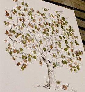Дерево из отпечатков пальцев гостей свадьбы